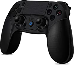 Qingta Wireless Game Controller for PS4 Rechargeable Compatible with PS3 with LED Light Portable Gaming Joystick Handle Black