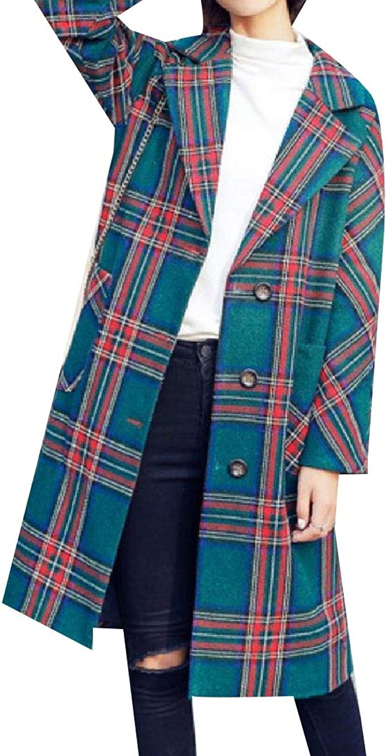 Abetteric Women's Check Plaid Wrap Trench Coat Outerwear Peacoats