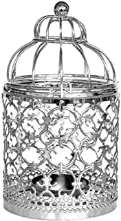 Chenway Iron Birdcage Pillar Candle Holder,Hollow-Out Design Candlestick - Functional Table Decorations- Centerpieces for Dining/Living Room