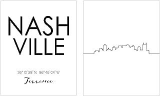 N&T Nashville Skyline Wall Décor Prints - Set of 2 (8x10) Art Photos - Typography Minimalist Poster