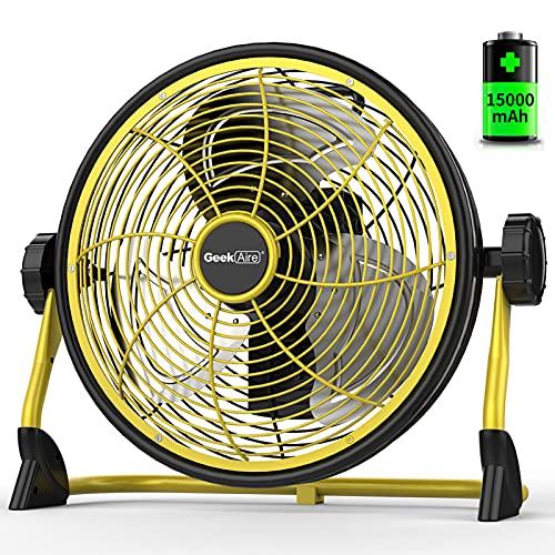 Geek Aire 屋外扇風機 業務用扇風機 工場扇 工業扇 IPX4防水 充電可能な屋外ファン 家庭ファン 空気循環金属の羽根付き30cm(12インチ) 大容量15000 mAh 風量5段階調節 24時間に及ぶキャンプハリケーンの運行時間 (12 inc
