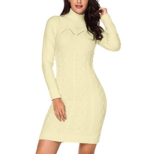 dfcc8570125 Dokotoo Womens Winter Cozy Casual Cable Knit Slim Sweater Jumper Dress