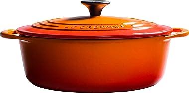 Le Creuset L25453A-222S 2.75 qt. Shallow Cast Iron Dutch Oven, 2.75qt, Flame