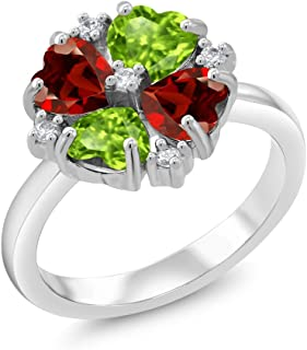 Silvershake Natural Garnet and Peridot White Gold Plated 925 Sterling Silver Vine Leaf Ring