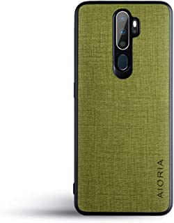 OPPO A5 2020 ケース Oppo A9 2020 生地パターンレザー高級完全に保護純色スマホケースOPPO A5 2020 (oppo a5 2020, Green)