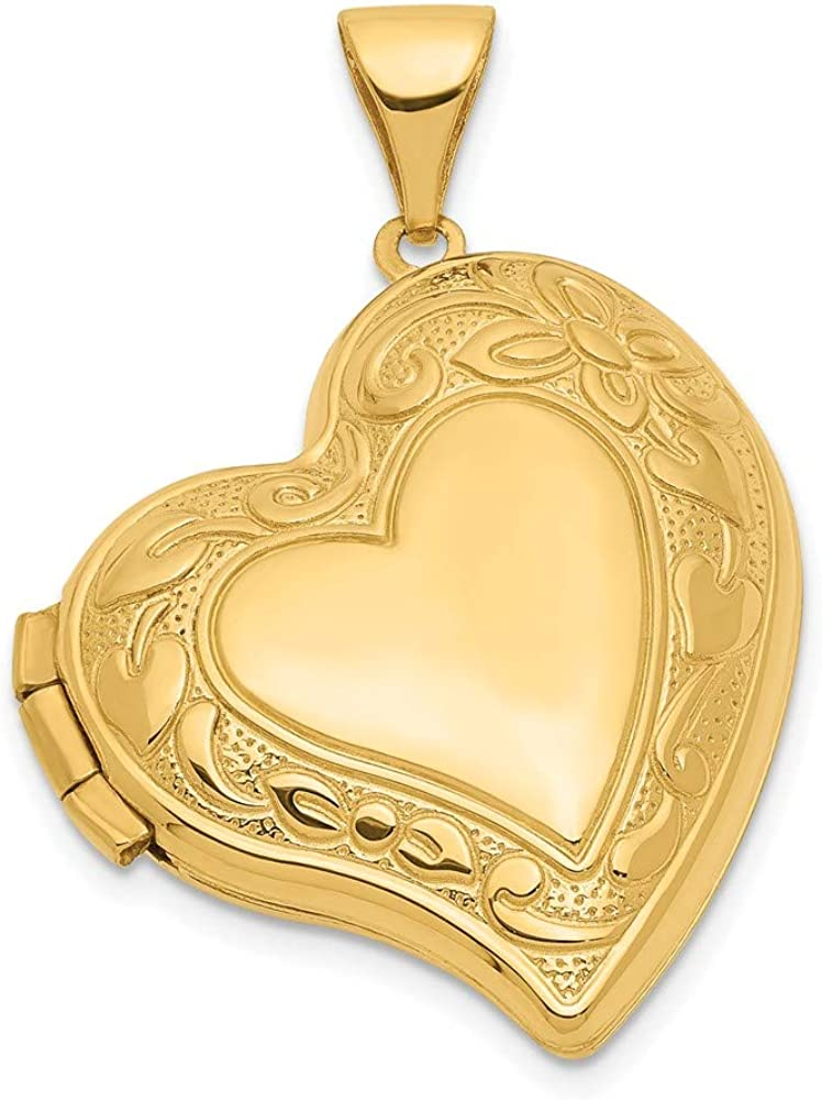 14k Yellow Gold Heart Photo Pendant Charm Locket Chain Necklace That Holds Pictures Fine Jewelry For Women Gifts For Her