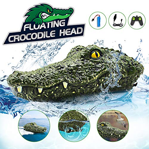 Crocodile Remote Control Boat, Electric Racing Boat, 2.4G High-Speed Simulation RC Alligator Head, Floating Crocodile Head Waterproof Prank Toys for Pools and Lakes, for Boys 8-12 Kids Toys
