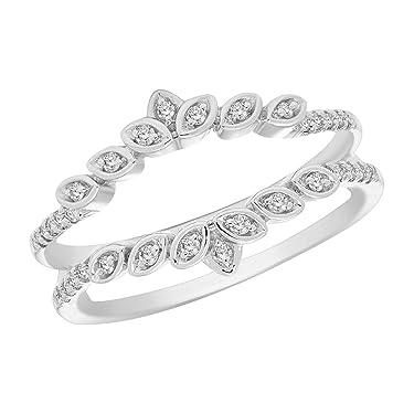 0.16 Ct Round Cut Natural Diamond 10K White Gold Enhancer Wrap Guard Ring