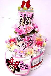 ご出産お祝い おむつケーキ 可愛いくって 人気の 「2段おむつケーキ ディズニーR 女の子用ミニー」 おむつ30枚使用の 豪華版 パンパースS-30枚