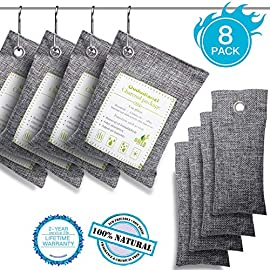 Air Purifying Bags(8 Pack - 4x200g+4x50g) with 4 S Hooks,Charcoal Bags Odor Absorber,Shoe Deodorizer,Bamboo Activated Charcoal Air Purifier Bags for Home,Car,Closet,Pet Areas,Basement etc. 11 Materials: Made from 100% activated bamboo charcoal, our air purifier charcoal bag is the most convenient, most practical and safest solution to keep your home free from any kind of unpleasant smell. Recyclable without waste: These charcoal bags are reusable for 2 years! When this charcoal bag is saturated, you need to place the charcoal bag outside in the sun once a month for at least two hours. You can reuse these charcoal bags without waste. Safe and effective: They are safe for children and pets and can be used almost anywhere you need.They can also help reduce the smell of smoke, so that your children and pets can live in a healthier environment.