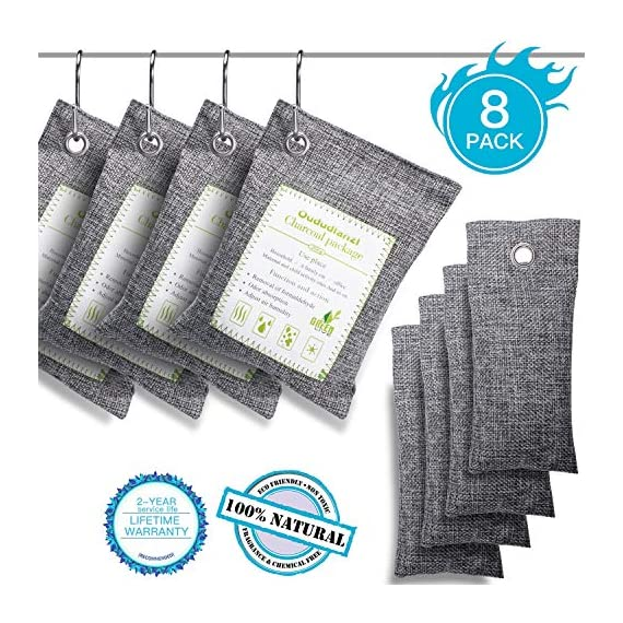 Air Purifying Bags(8 Pack - 4x200g+4x50g) with 4 S Hooks,Charcoal Bags Odor Absorber,Shoe Deodorizer,Bamboo Activated… 1 Materials: Made from 100% activated bamboo charcoal, our air purifier charcoal bag is the most convenient, most practical and safest solution to keep your home free from any kind of unpleasant smell. Recyclable without waste: These charcoal bags are reusable for 2 years! When this charcoal bag is saturated, you need to place the charcoal bag outside in the sun once a month for at least two hours. You can reuse these charcoal bags without waste. Safe and effective: They are safe for children and pets and can be used almost anywhere you need.They can also help reduce the smell of smoke, so that your children and pets can live in a healthier environment.