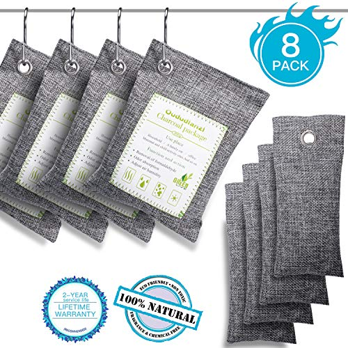 Cheap Oududianzi Air Purifying Bags(8 Pack - 4x200g+4x50g) with 4 Hooks,Shoe Deodorizer,Bamboo Charc...