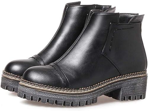 DANDANJIE Martin Stiefel Damen Mid Mid Mid Heel Schuhe Block Ferse Slip Herbst Winter Kurze Ankle Stiefelies für Outdoor  Es gibt mehr Marken von qualitativ hochwertigen Waren