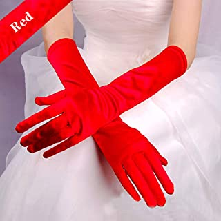 Long Flapper Evening Opera Satin Gloves for Women Costume Accessories,Red