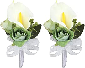 Febou Boutonniere Pack of 2 Calla Lily Wedding Boutonniere for Groom Bridegroom Groomsman Perfect for Wedding, Prom, Party (Boutonniere, B-White