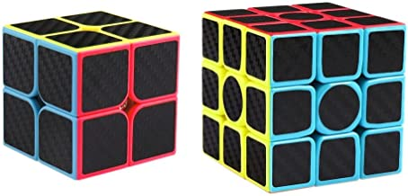 Coogam Zcube Carbon Fiber Cube Bundle 2x2 3x3 Speed Cube Set Z Cube Magic Puzzle Toy Pack Kids and Adults Challenge