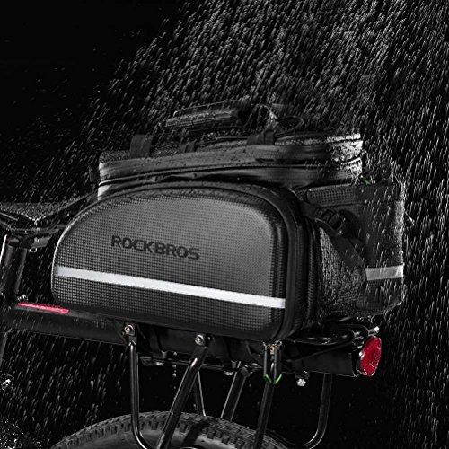 ROCKBROS Bike Rack Bag Trunk Bag Waterproof Carbon Leather Bicycle Rear Seat Cargo Bag Rear Pack Trunk Pannier Handbag
