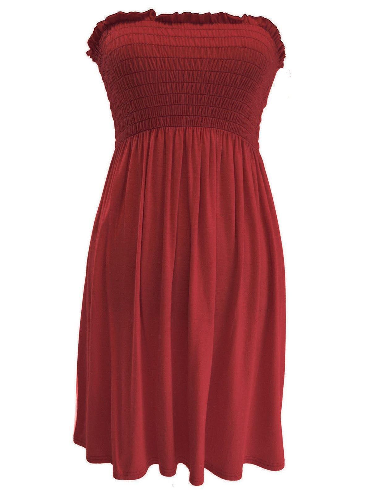 Available at Amazon: Rimi Hanger Women's Sheering Boobtube Gather Bandeau Top Ladies Strapless Summer Mini Dress S/XXL