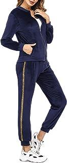 Sykooria Donna Tuta da Ginnastica 2 Pezzi, Tuta da Donna Set Casual Sportswear Pigiama in Velluto Cardigan Top con Maniche...