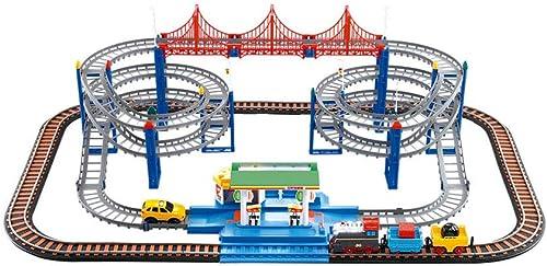 LINGLING-Verfolgen Zug Set Kinderspielzeug Elektrische Bahn Zug Dinosaurier Achterbahn High-Speed-Bahnhof Puzzle Spiel über 3 Jahre alt (Farbe   Charging, Größe   Gas Station Track)