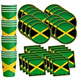 Jamaican Flag Jamaica Birthday Party Supplies Set Plates Napkins Cups Tableware Kit for 16