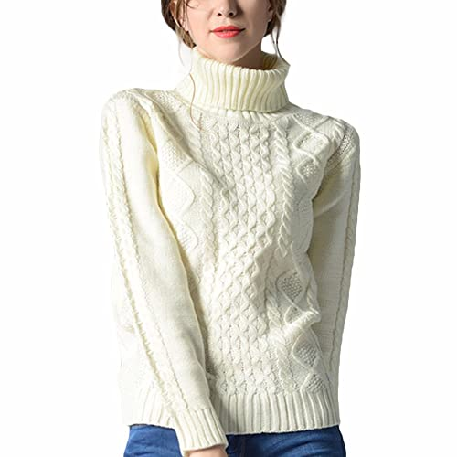 5d3610ef3a307 VERYCO Women Turtle Polo Neck Chunky Cable Knit Long Sleeve Pullover Jumper  Sweater Tops