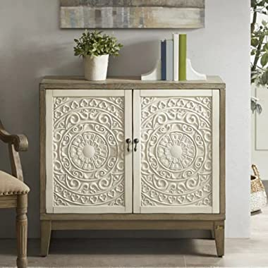 JAE Wooden Carved Storage Cabinet   Cabinet for Living Room   Wooden Sideboard for Bedroom   White and Brown Finish   2 Door