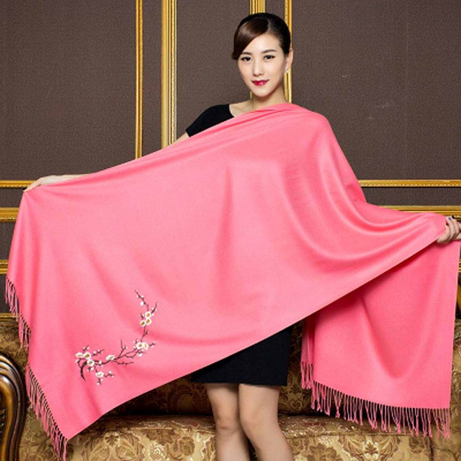 AINIYF Pretty Gift Box Wrapped Cashmere Pashmina Scarf Shawl Fashion Warm Oversized Wool Wrap Shawl Stole for Women 78.7x27.56inches (color   Pink)