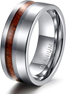 6mm 8mm Titanium Wedding Band Brushed and Polished Ring with Nature Wood Inlay Size 6-13