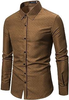 Fensajomon Mens Solid Color Summer Half Sleeve Buttons Mandarin Collar Shirts