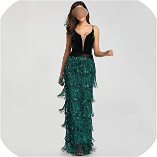 Surprise S Green Sequins Tassel Sexy Long Prom Dress Elegant V Neck Party Dress