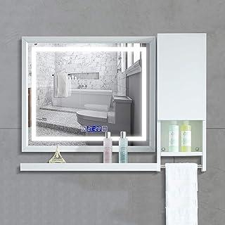 LEDバスルームミラー、ラック付きタッチバスルームウォールミラー、タッチスイッチ、5MM防爆ミラーホワイトライトレクタングル化粧鏡アルミフレーム (Size : 70CMx60CM+Cabinet+Rack)