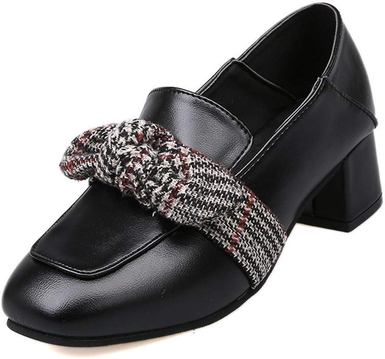 Mokassins Grobe Einzelne Schuhe Quadratischen Kopf Retro-Oma Schuhe Wilden Bogen In Der Mitte Mit Zwei Bequem  | Fierce Kaufen