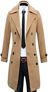 Beninos Men's Trench Coat Winter Long Jacket Double Breasted Overcoat