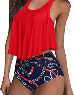 MOSHENGQI Women Vintage High Waisted Swimsuits Crop Top Beach Bathing Suits