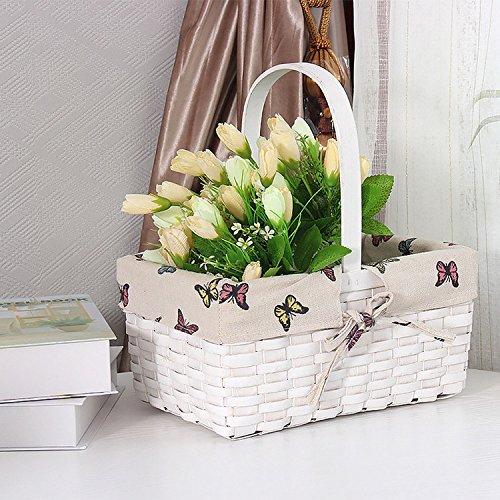 Panier de rangement en osier avec poignée pour jouet à linge de stockage Plante Pot de fleurs Bureau Décoration Panier Motif papillon Blanc Extérieur Vaisselle et accessoires Large 30*20*14 cm
