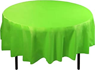 Exquisite 12-Pack Premium Plastic 84-Inch Round Tablecloth, Lime Green