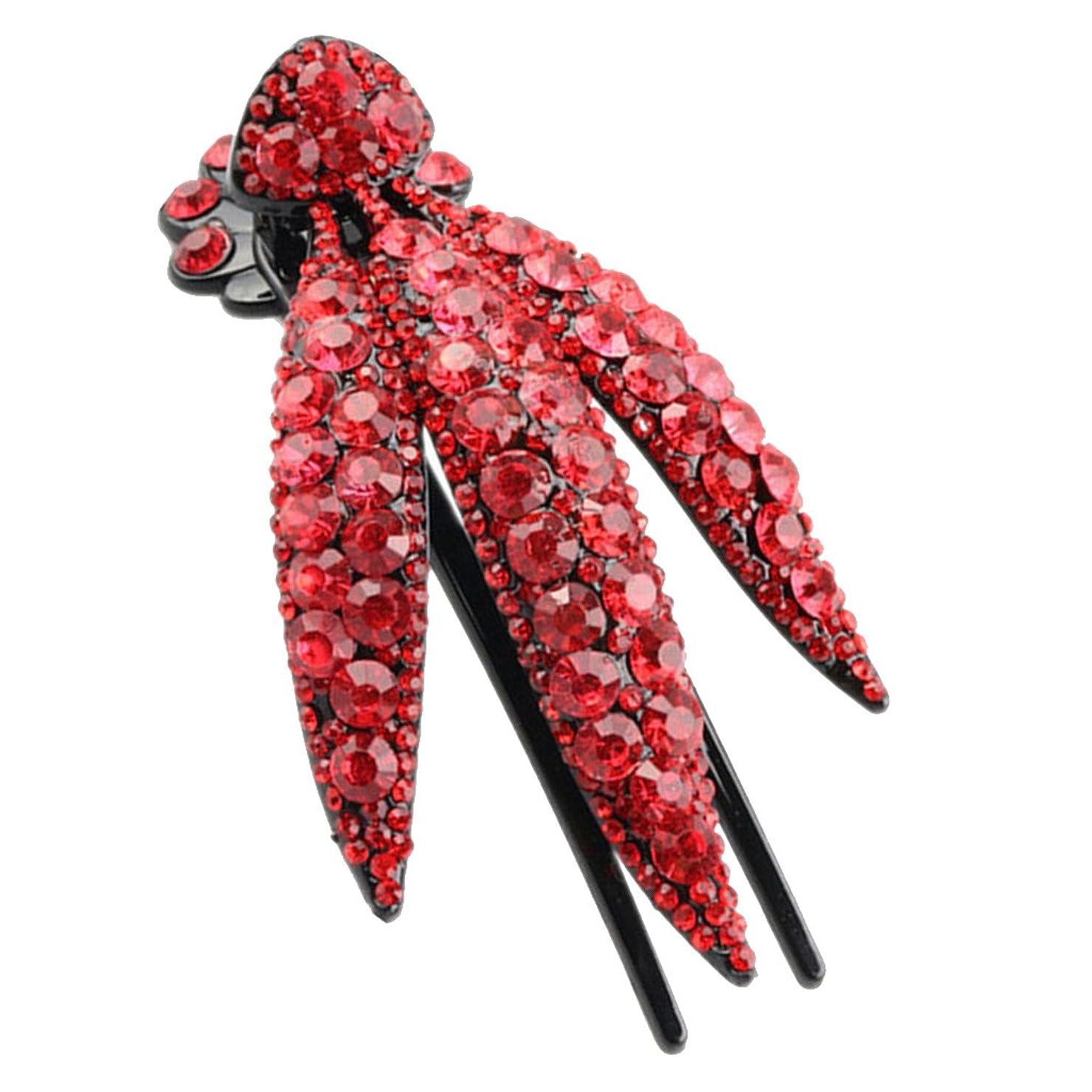 一廃止するバランスのとれたFenteer 髪飾り ラインストーン ヘアクリップ キラキラ 贈り物 全6色 女性 便利  - 赤