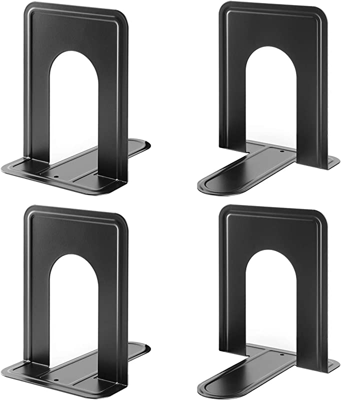 MaxGear Book Ends Universal Premium Bookends Non Skid Heavy Duty Metal Books End Bookend Pack Book Stopper For Books Movies CDs Video Games 6 X 4 6 X 6 Inches Black 2 Pairs 4 Pieces Large