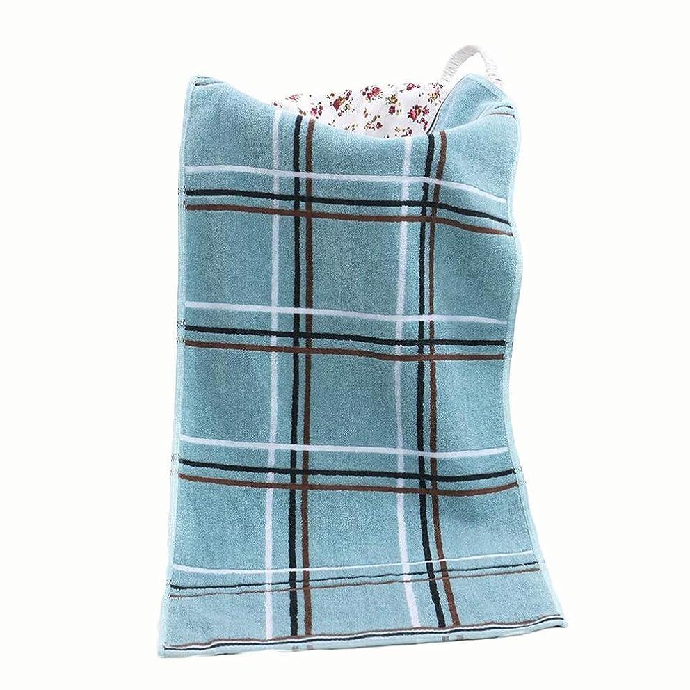 高層ビルイノセンスシェルCXUNKK 2PCS / LOT家庭用コットン格子吸水性強い非褪色タオル (Color : Blue)
