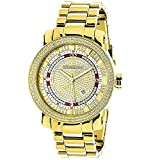 Unique Large Mens Diamond Watch 18k Yellow Gold Plated by 0.12ctw of Diamonds by Luxurman