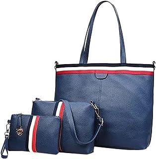 Womens Tote Bag with Wallet Fashion Design Handbag for Lady PU Leather Handbag Set 3 Piece Leather Shoulder Bag Set Blue