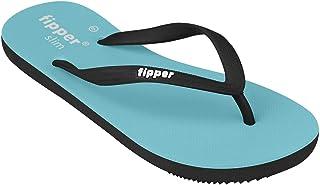fipper Rubber Thongs Women's Sandals, Blue/Black, 9 US