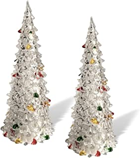 BANBERRY DESIGNS Light Up Christmas Trees - Set of 2 Acrylic Trees with LED Slow Color Changing Lights - Colorful Painted Ornaments