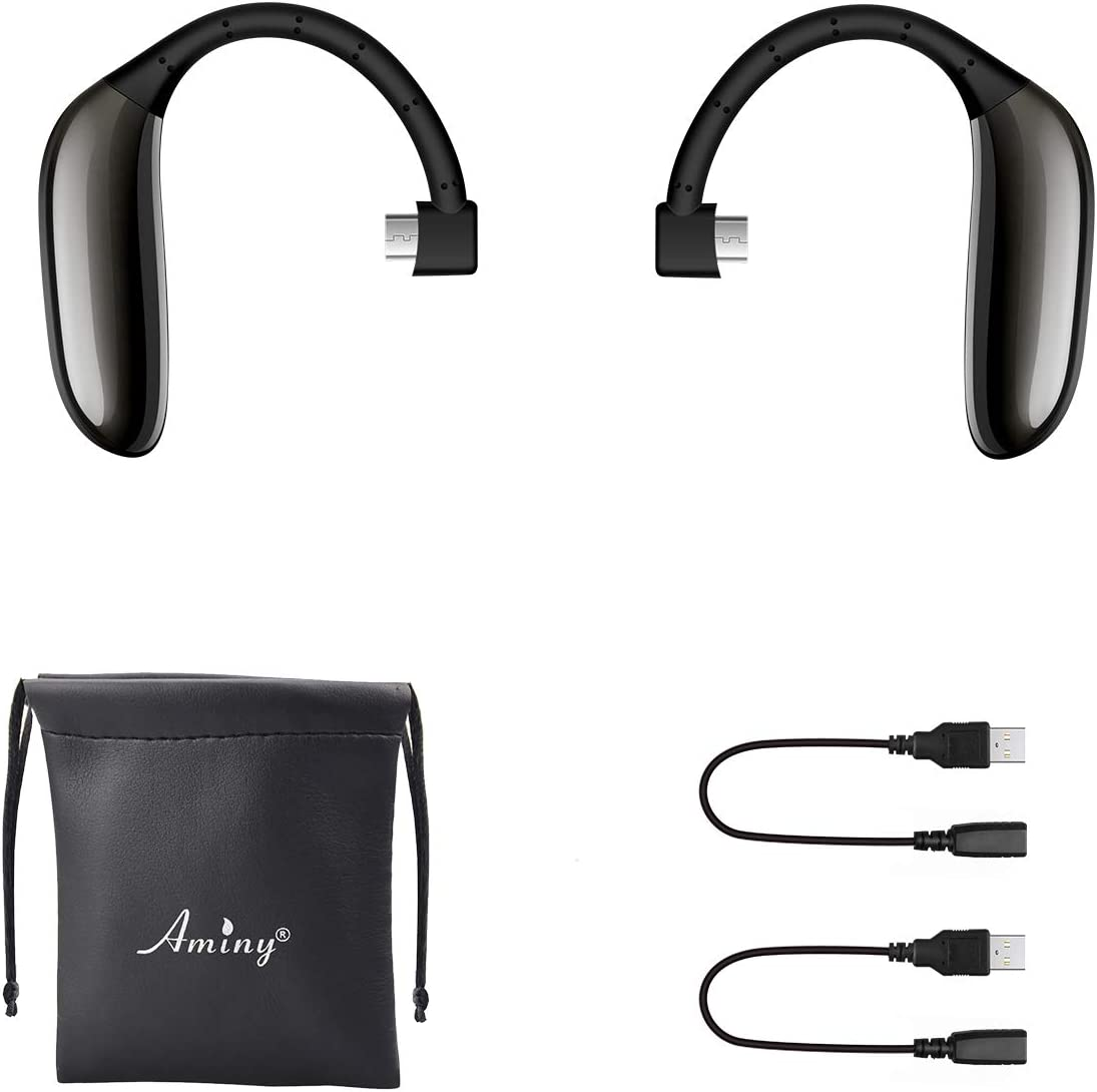AMINY UFO Bluetooth Headset Battery,UFO Left Battery+UFO Right Battery+ 2pcs Charge Cables+Pouch,AMINY UFO Headset Accessories