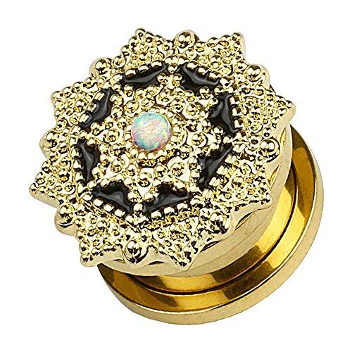 Piercingfaktor Ohr Plug Flesh Tunnel Piercing Ohrpiercing Vintage Tribal Blume Gold IP mit Opal 10mm