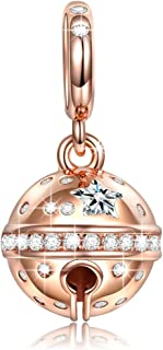 NINAQUEEN Christmas Charms Gifts Jingle Bells 925 Sterling Silver Rose Gold Dangle Charm Pendant Charm for Pandöra Bracelets Jewelry Gifts for Her