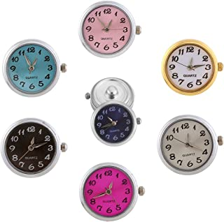 Lovmoment Watch Round Snap Button Jewelry Quartz Face Watch(Pack of 7pcs)