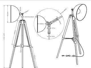 Lampadaire rétro à trois pieds avec réflecteur orientable en métal noir/doré - Trépied en bois noir réglable en hauteur - ...