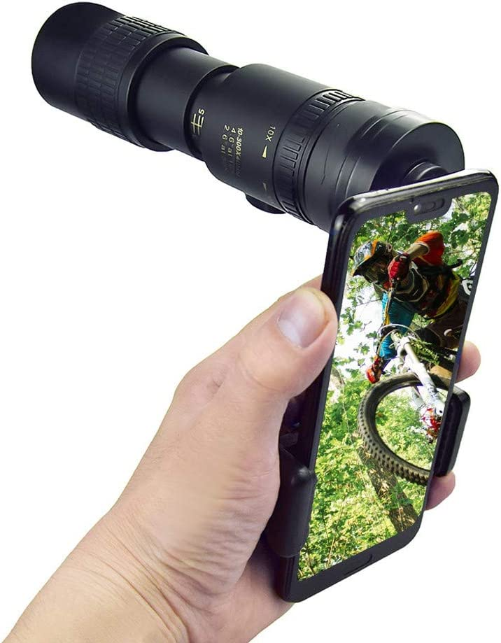 Monocular Telescope with Smartphone Adapter Tripod Suit for Hiking Camping Bird Watching Best Gifts for Men 4K 10-300X40mm Super Telephoto Zoom Monocular Telescope